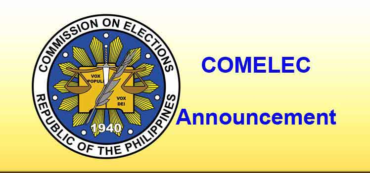 Comelec Announcement