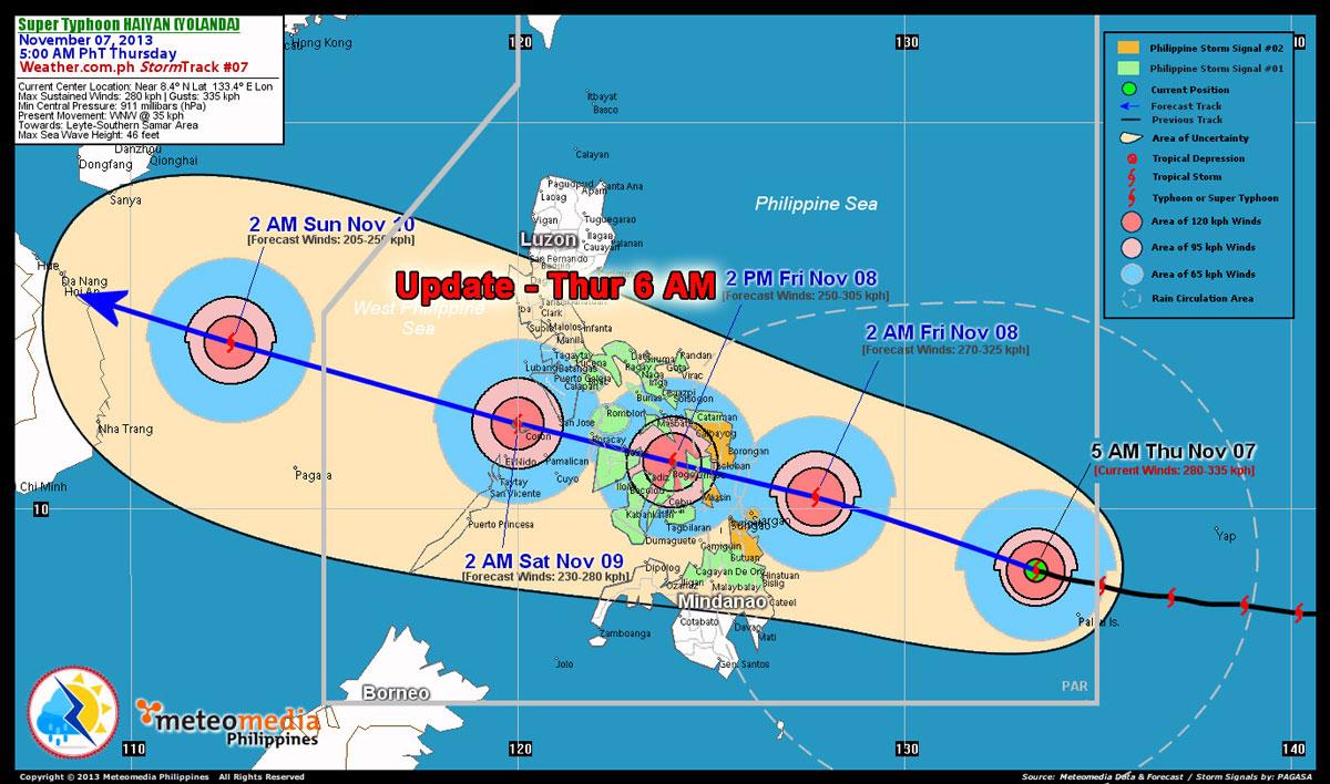Haiyan Yolanda update thursday 6pm