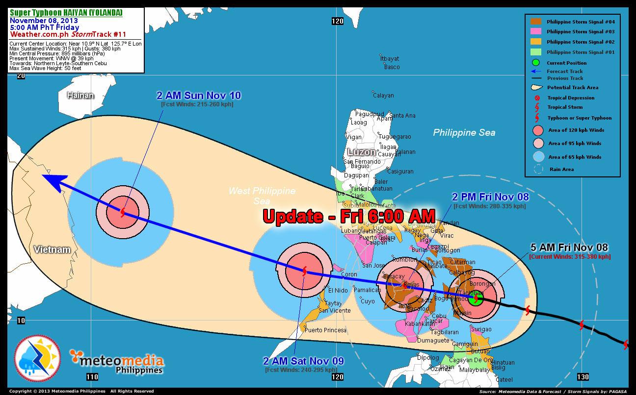 Haiyan Yolanda  update friday -6am