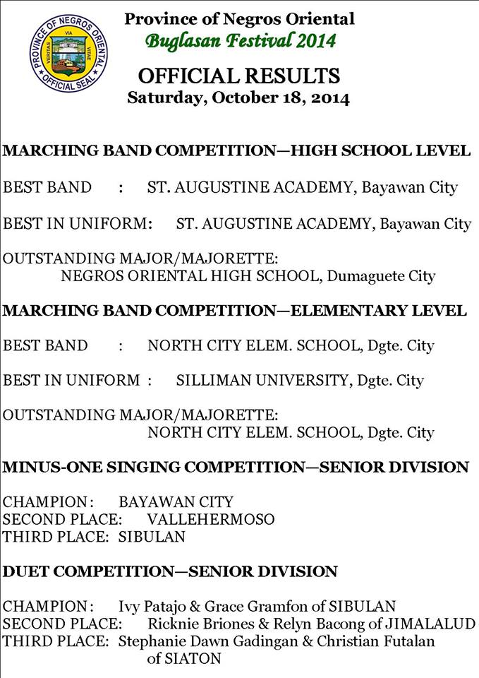 Result winners marching bands and more