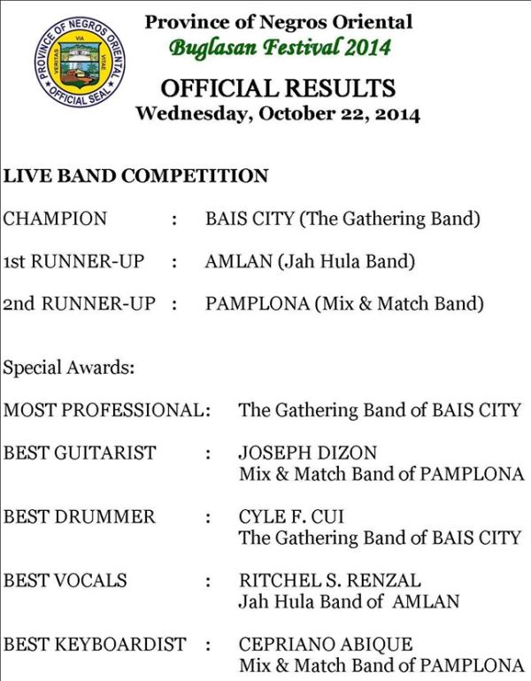 result live band competition