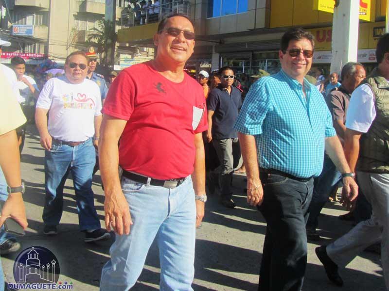 "Congressman George Arnaiz and Mayor  Mayor Manuel ""Chiquitting"" Sagarbarria lead the Charter Day Parade"