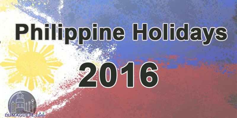 Philippine Holidays 2016