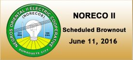 NORECO II - Scheduled Brownout