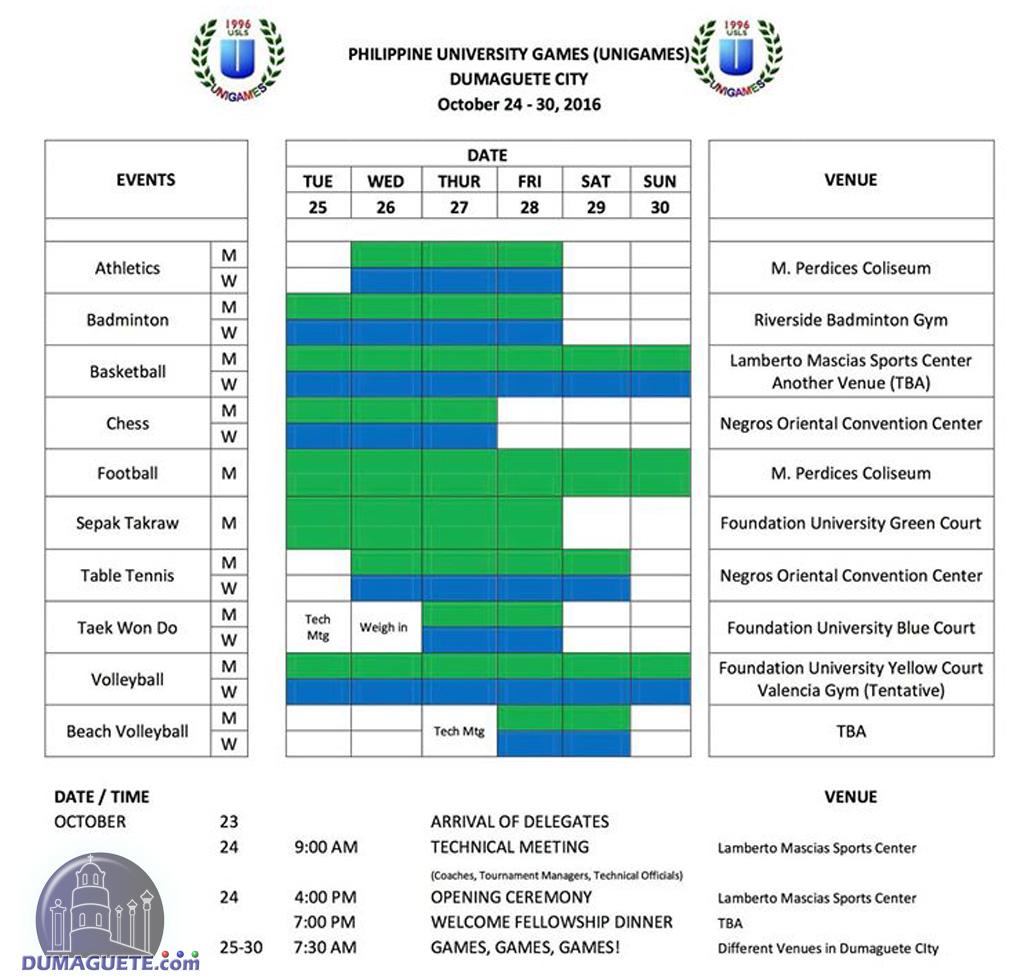 Unigames 2016 Schedule