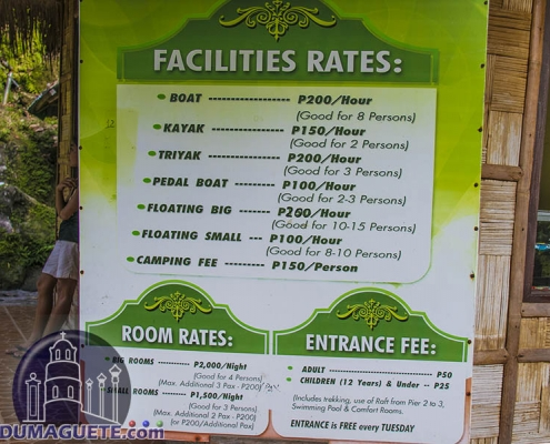 Lake Balanan - Siaton - Negros Oriental - Facilities Rates