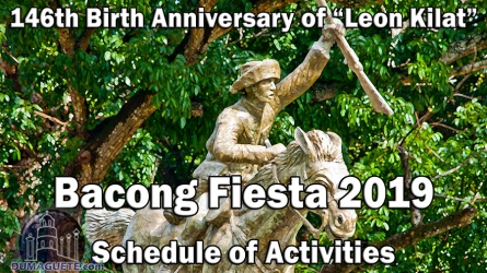 Bacong Fiesta 2019 – Schedule of Activities