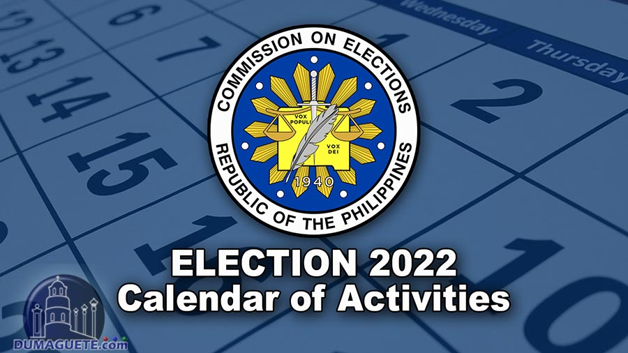 Philippine Election 2022 - Calendar of Activities